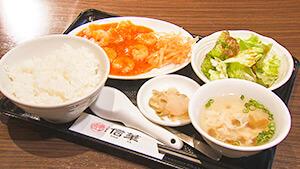 海老のチリソース定食(中華料理店「信華」)