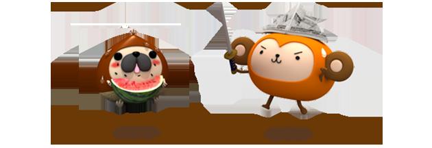 りんご丸の友達(パグリ・おさる)