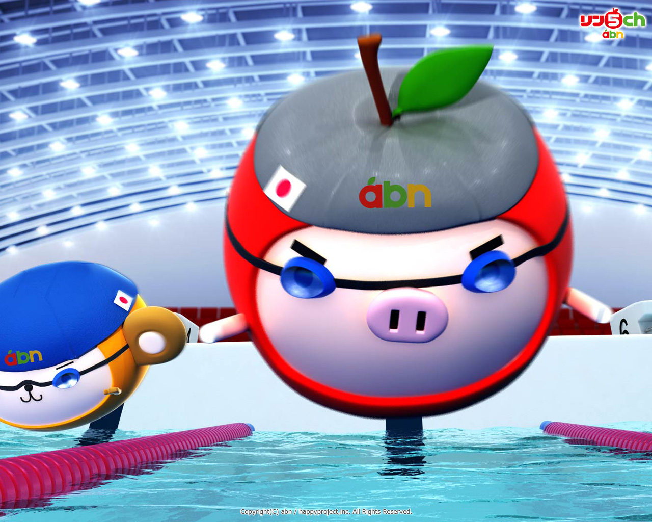 りんご丸壁紙(スポーツシリーズ・水泳)