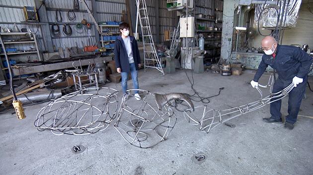 ステンレス彫刻・制作過程の骨組み|巨大ステンレス彫刻家!中嶋大道