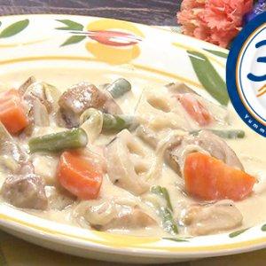 根菜と鶏肉の豆乳クリームシチュー(1月22日 水曜 よる6時55分)